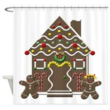 Cute Gingerbread House Christmas Shower Curtain