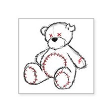 "Tragic Bear Sketch Square Sticker 3"" x 3"""