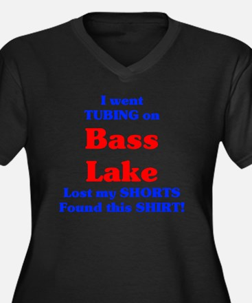 Bass Lake Tu Women's Plus Size Dark V-Neck T-Shirt