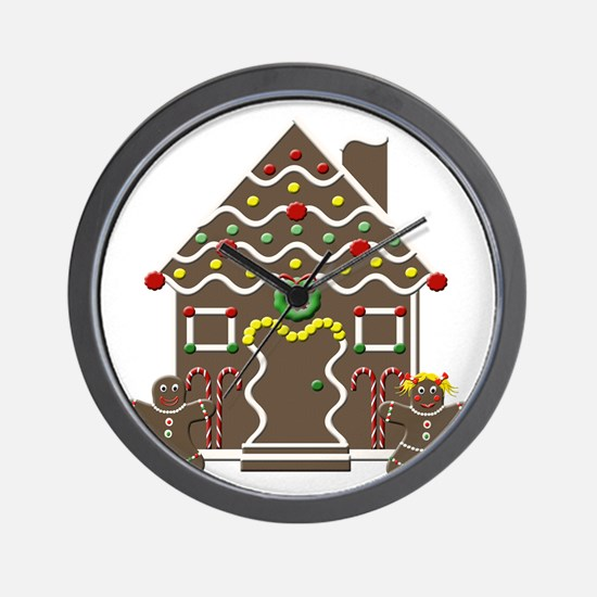 Cute Gingerbread House Christmas Wall Clock
