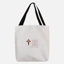 Camino Poem Red with Cross Polyester Tote Bag