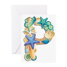 Beach Theme Monogram P Greeting Card