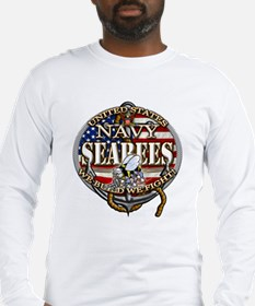 US Navy Seabees Anchor Flag S Long Sleeve T-Shirt