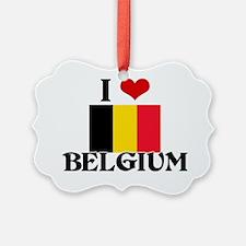 I HEART BELGIUM FLAG Ornament