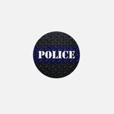 Police Diamond Plate Mini Button