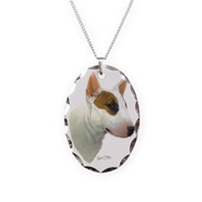 Bull Terrier Head 2 Necklace Oval Charm