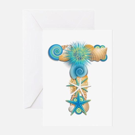 Beach Theme Monogram T Greeting Card