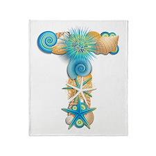 Beach Theme Monogram T Throw Blanket