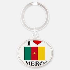 I HEART CAMEROON FLAG Oval Keychain