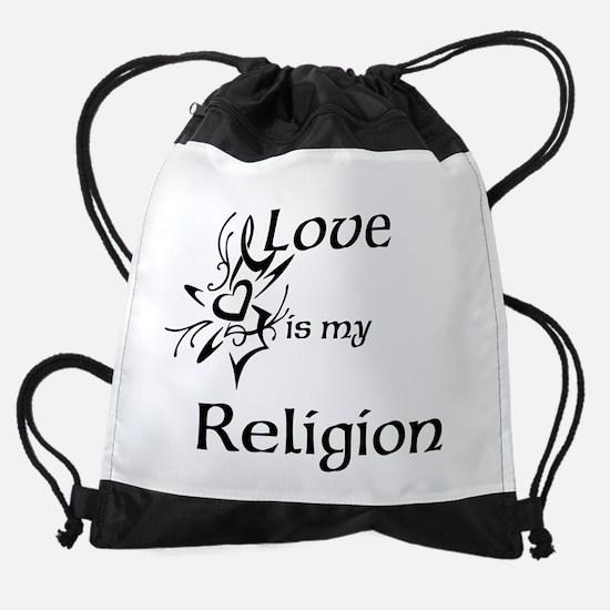 love is my religion Drawstring Bag