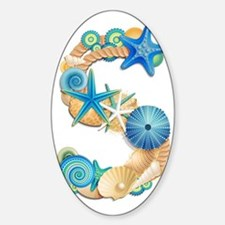 Beach Theme Initial S Sticker (Oval)