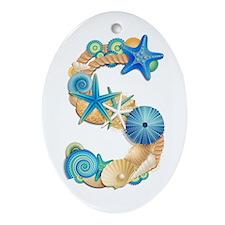 Beach Theme Initial S Oval Ornament