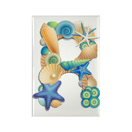 Beach Theme Initial R Rectangle Magnet