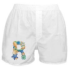Beach Theme Initial R Boxer Shorts