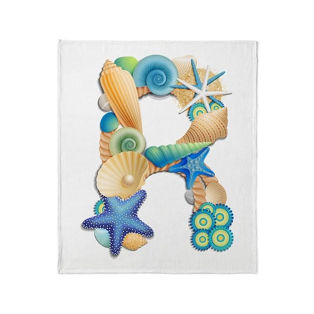 Beach Theme Blanket: Beach Theme Initial R Throw Blanket By Admin_CP9620388