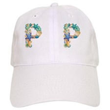Beach Theme Initial P Baseball Cap