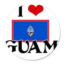 I HEART GUAM FLAG Round Car Magnet