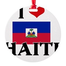 I HEART HAITI FLAG Ornament