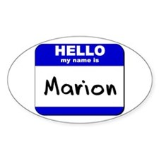 hello my name is marion Oval Decal