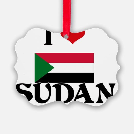 I HEART SUDAN FLAG Ornament