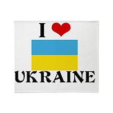 I HEART UKRAINE FLAG Throw Blanket