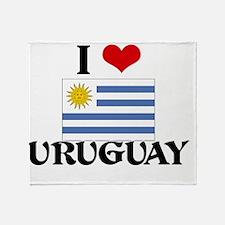 I HEART URUGUAY FLAG Throw Blanket