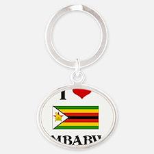 I HEART ZIMBABWE FLAG Oval Keychain