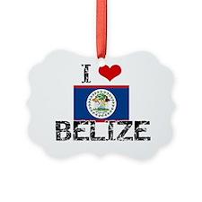 I HEART BELIZE FLAG Ornament