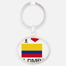 I HEART COLOMBIA FLAG Oval Keychain