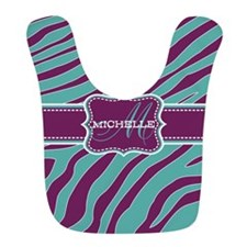 Purple and Teal Animal Print Monogram Bib