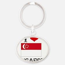 I HEART SINGAPORE FLAG Oval Keychain