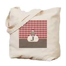 Retro Monogram J Sock Monkey Argyle Tote Bag