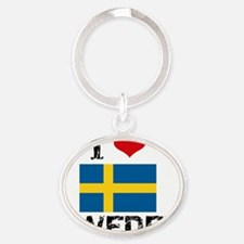 I HEART SWEDEN FLAG Oval Keychain
