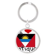 I HEART ANTIGUA FLAG Round Keychain