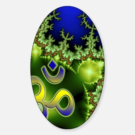 Yoga Aum Om Neon Green Blue Sticker (Oval)