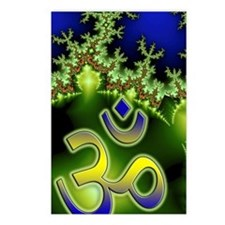 Aum Om Neon Green Blue Fr Postcards (Package of 8)