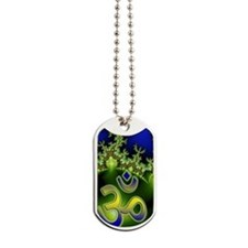 Aum Om Neon Green Blue Fractal Dog Tags
