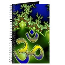 Aum Om Neon Green Blue Fractal Journal