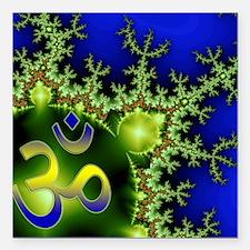 "Aum Om Green Blue Yoga N Square Car Magnet 3"" x 3"""