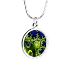 Aum Om Green Blue Yoga Namas Silver Round Necklace