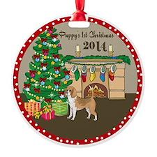 2014 Beagles 1St Christmas Round Ornament