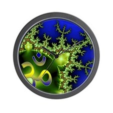 Aum Om Green Blue Yoga Namaste Wall Clock
