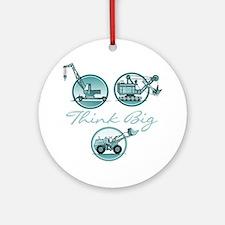 Think Big Construction Vehicles Round Ornament