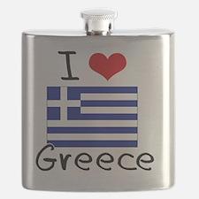 I HEART GREECE FLAG Flask