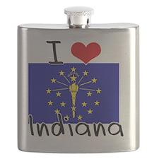 I HEART INDIANA FLAG Flask