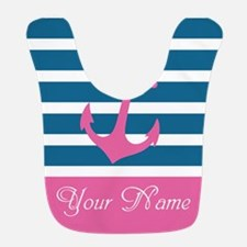 Pink Anchor On Stripe - Personalized Bib
