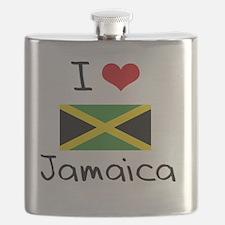 I HEART JAMAICA FLAG Flask