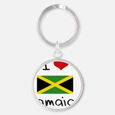 I HEART JAMAICA FLAG Round Keychain