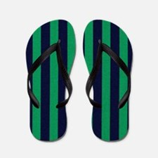 Classic green and dark blue striped Flip Flops
