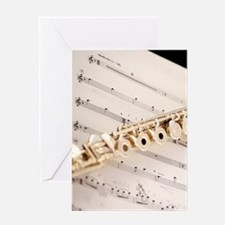 Flute and Music Greeting Card